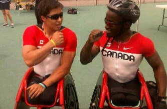 APRIL 23 – Wheelchair Athletes Push Each Other