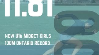New 100M U16 Midget Girls Ontario Record